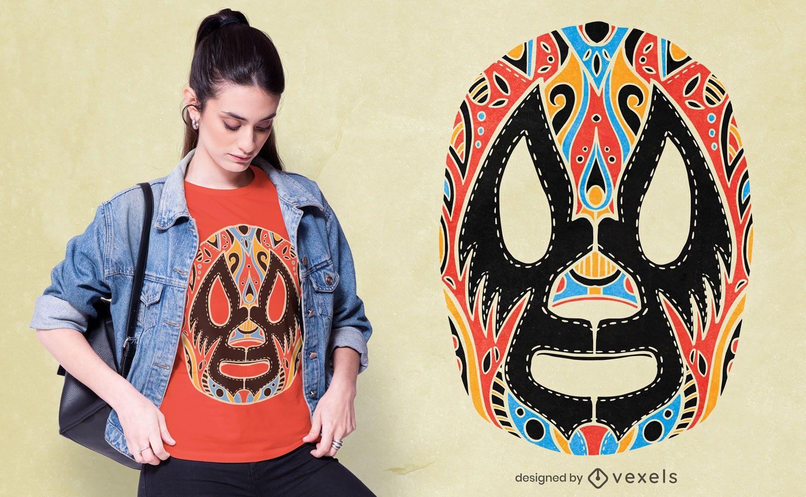 Diseño de camiseta de máscara de lucha libre.