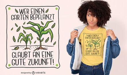 Diseño de camiseta de cita alemana de plantas de jardinería.
