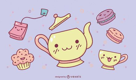 Tea party kawaii set diseño de ilustración