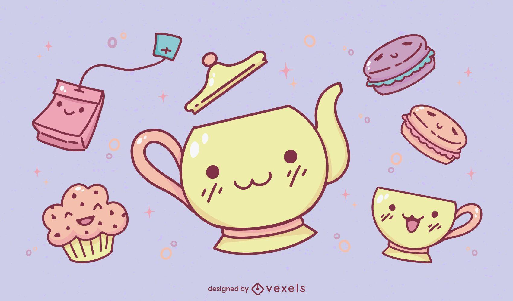 Tea party kawaii set diseño de ilustración