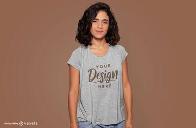 Smiling model t-shirt mockup