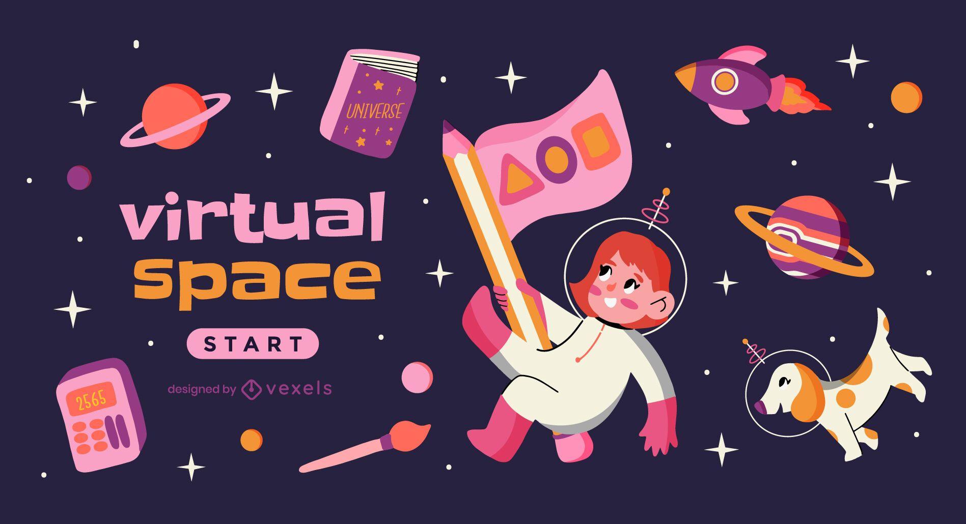 Online education space theme slider