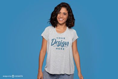 Happy standing model t-shirt mockup