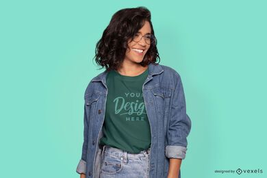 Model with glasses t-shirt mockup