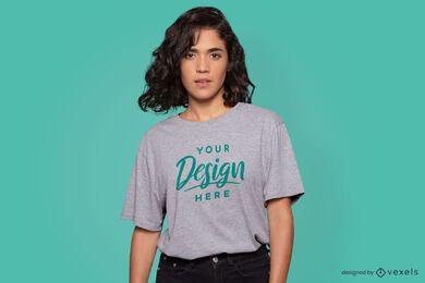 Serious model t-shirt mockup