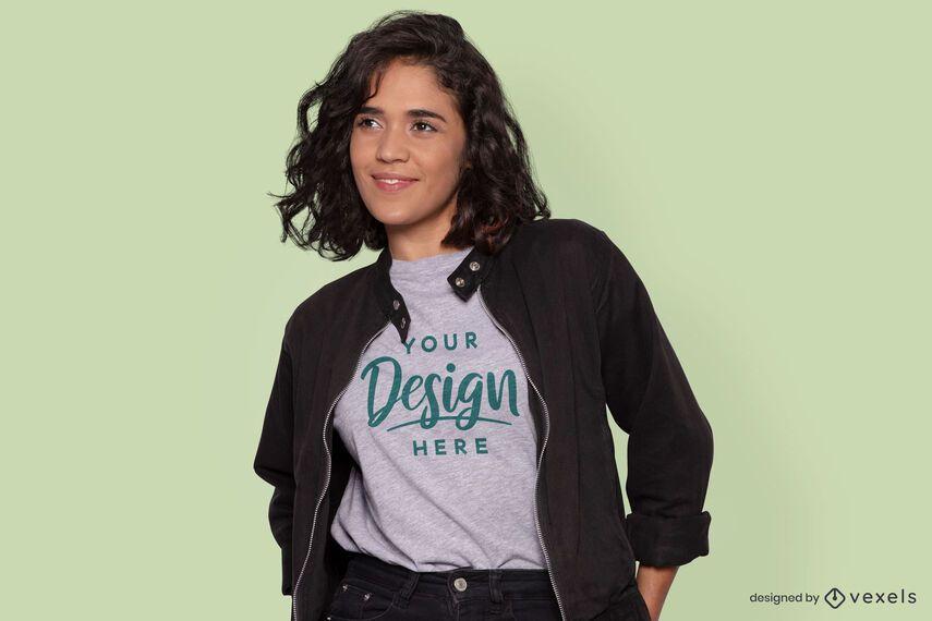 Black jacket model t-shirt mockup