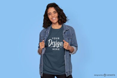 Maquete de camiseta feminina com jaqueta jean