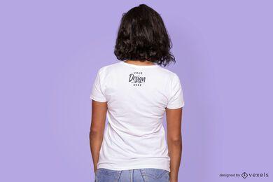 Maqueta de camiseta con espalda de color liso