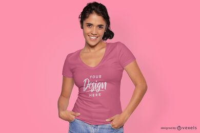 Female model in tight fit t-shirt mockup