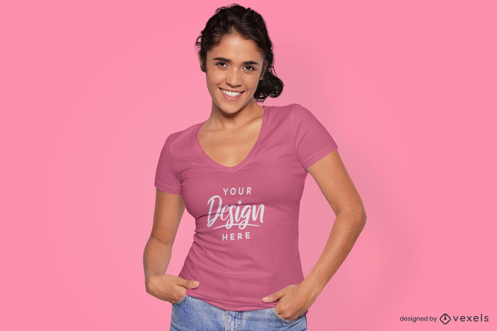 Female model in tight fit t-shirt mockup