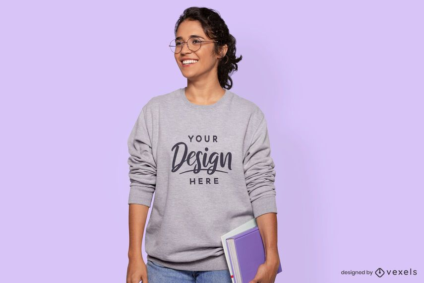 Female student model sweatshirt mockup