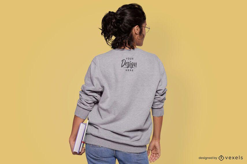 Model student back view sweatshirt mockup