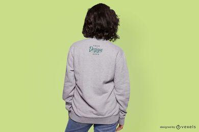 Back view female model sweatshirt mockup