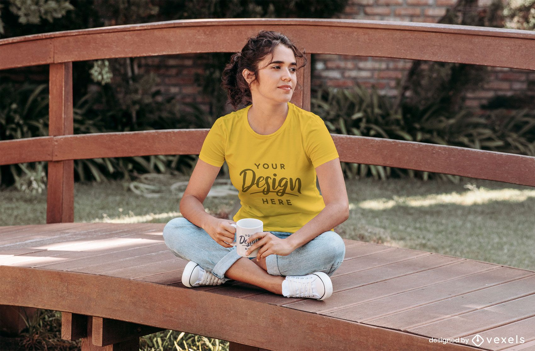 Girl drinking coffee on bridge t-shirt mockup