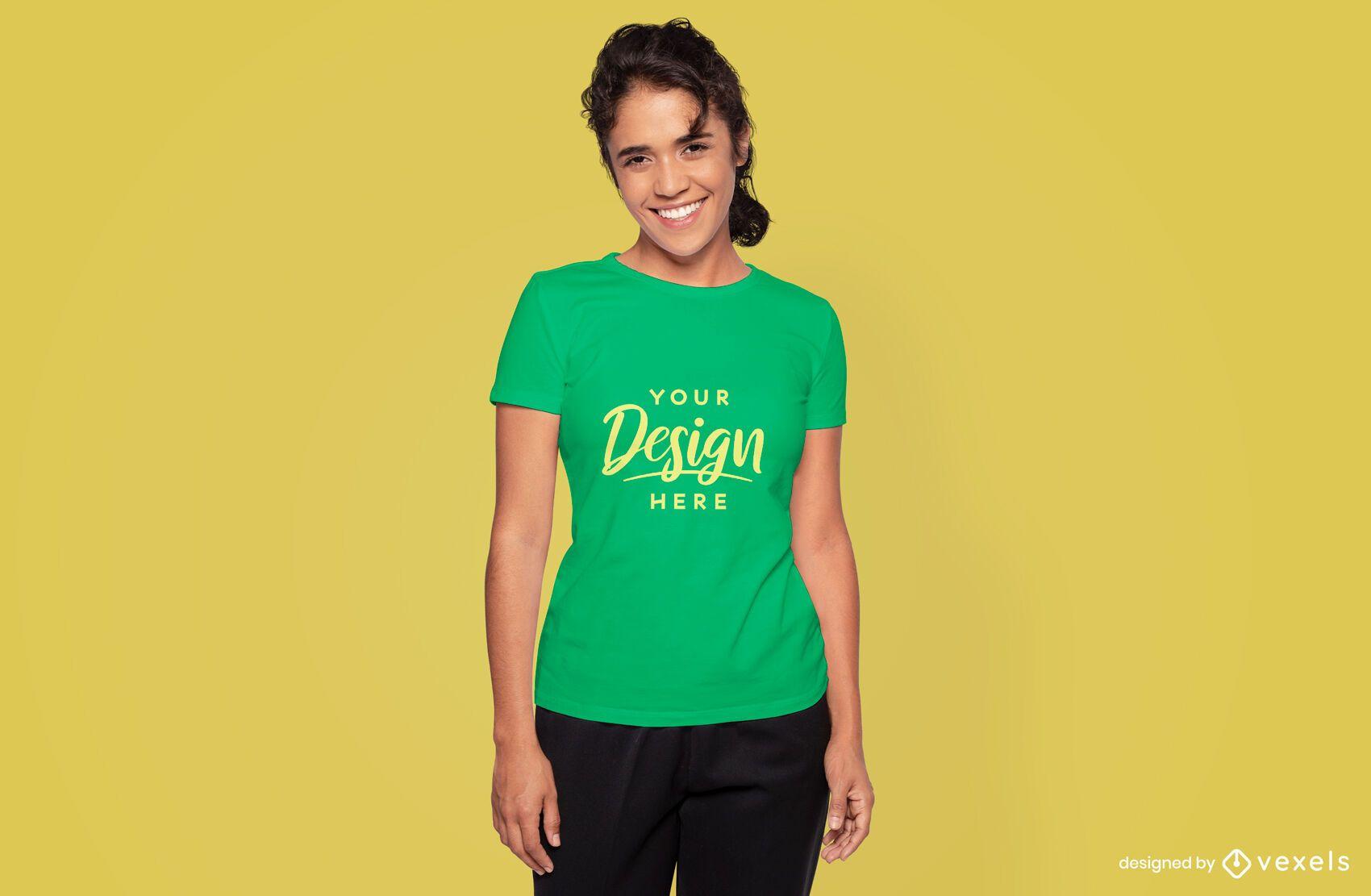 Female model smiling t-shirt mockup