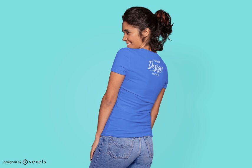 Woman looking side t-shirt mockup
