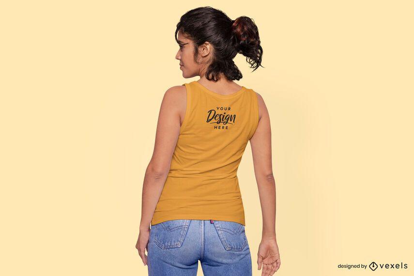 Maqueta de camiseta sin mangas modelo trasero