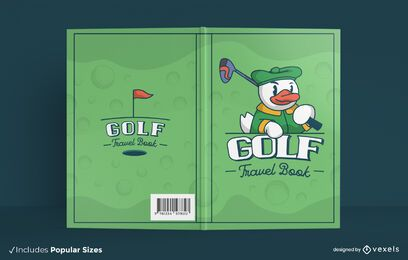 Diseño de portada de libro de dibujos animados de deporte de golf