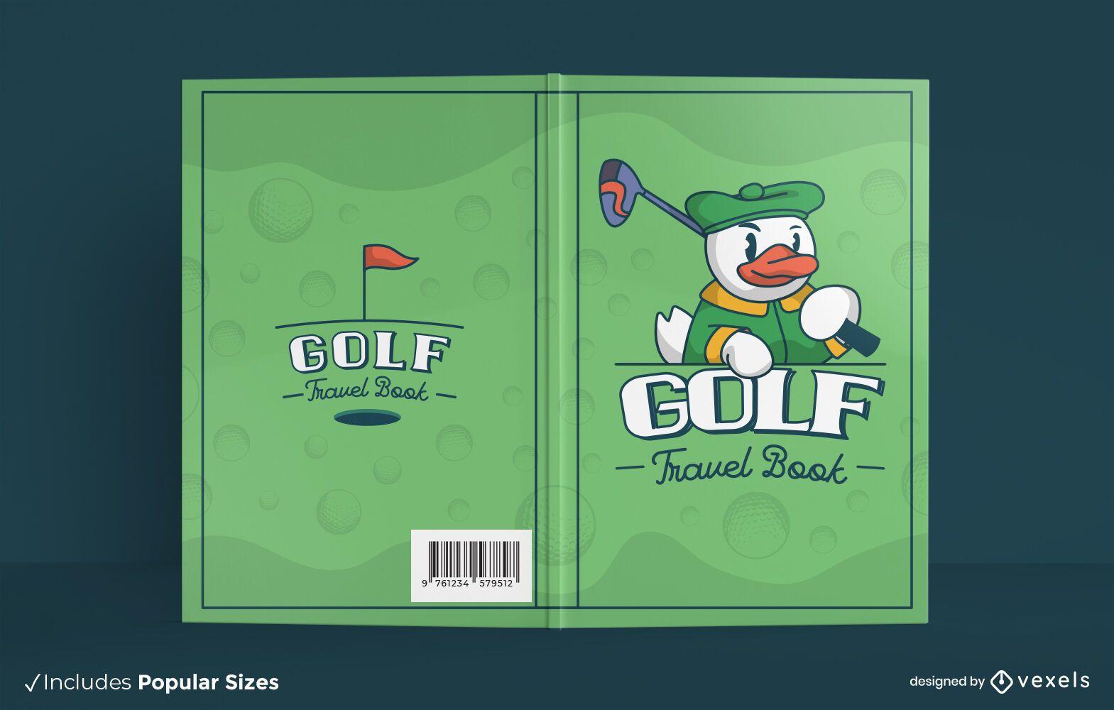 Golf sport cartoon book cover design