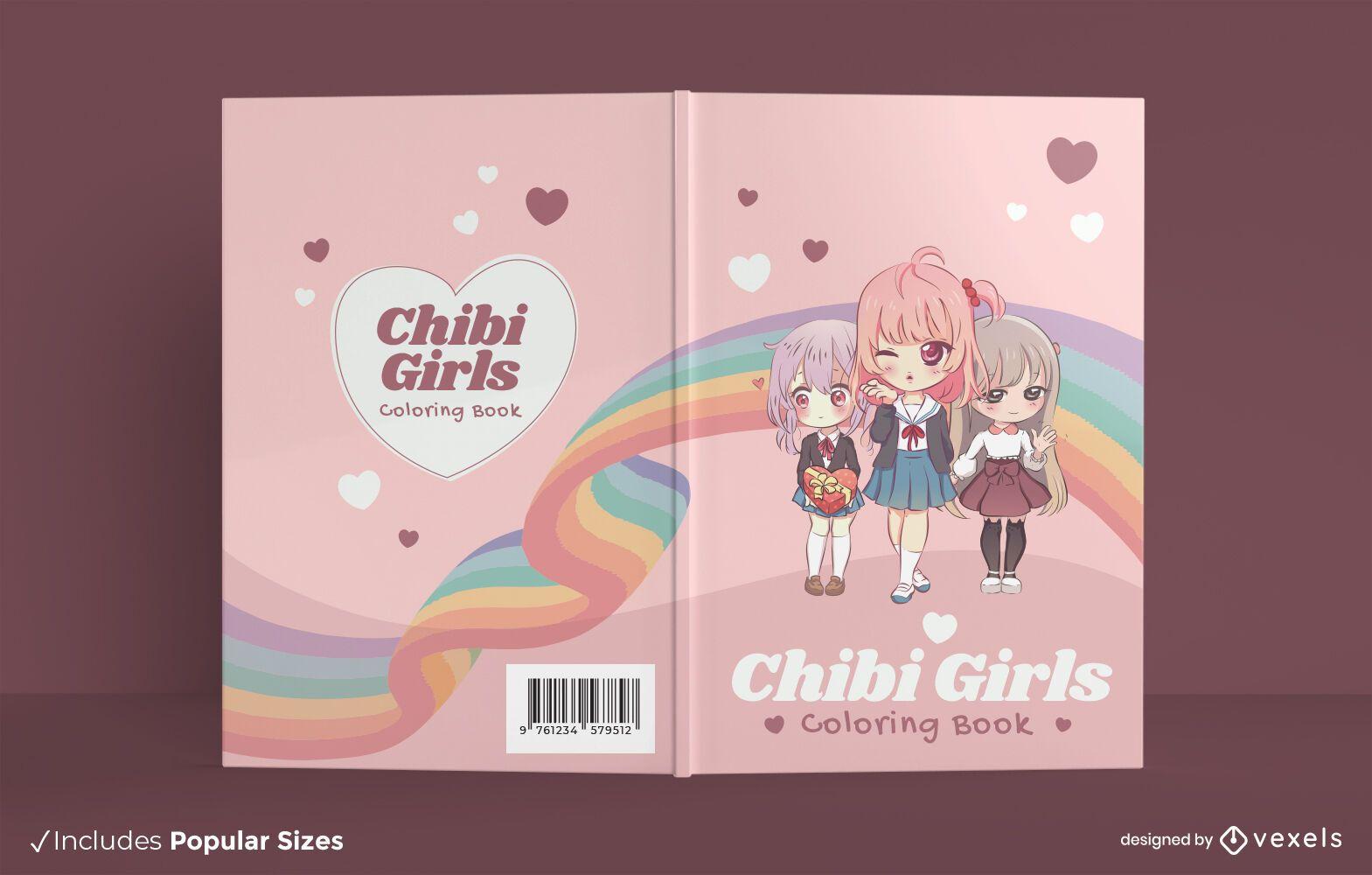 Dise?o de portada de libro para colorear de chicas anime chibi