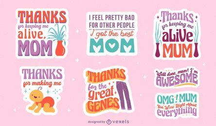 Conjunto de adesivos de citações fofas para o dia das mães