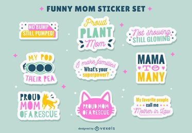 Conjunto de pegatinas de citas de madre divertida