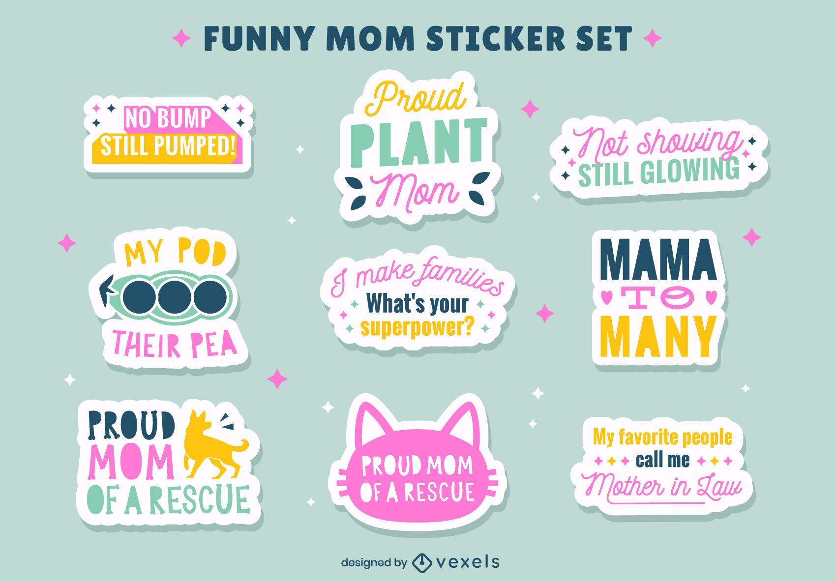 Conjunto de adesivos de citações engraçadas de mãe