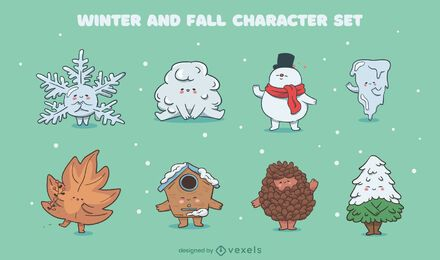 Winter fall seasons cute character set