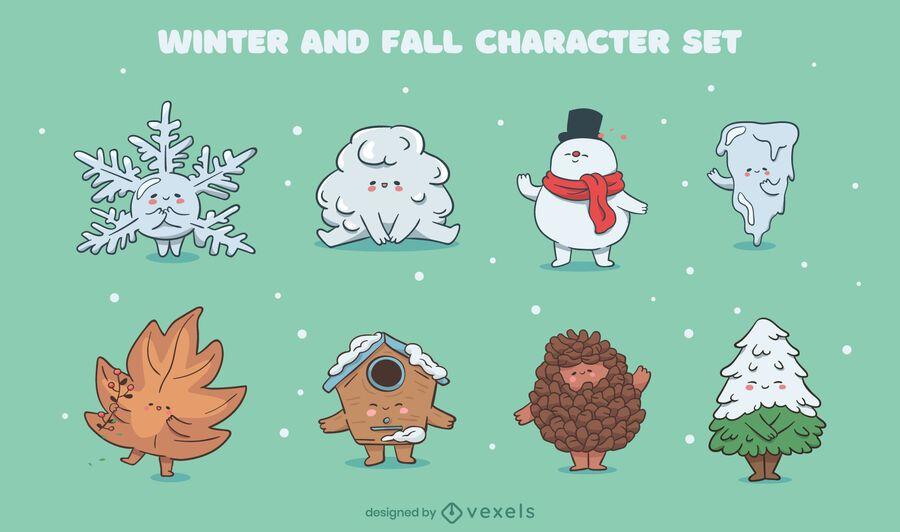 Winter fall seasons cute character set