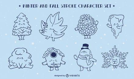Conjunto de caracteres do inverno outono