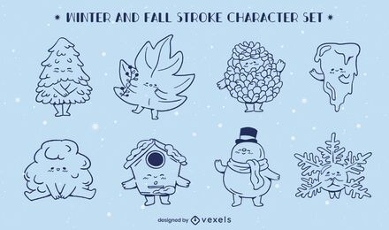 Winter fall seasons line art character set