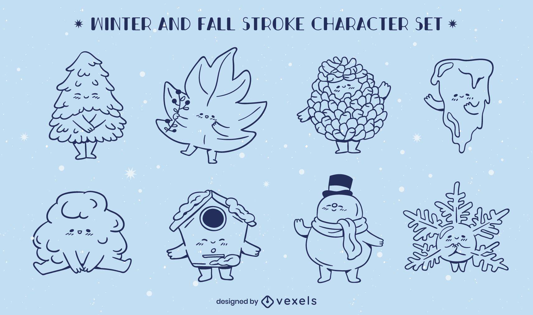 Invierno otoño temporadas conjunto de caracteres de arte lineal.