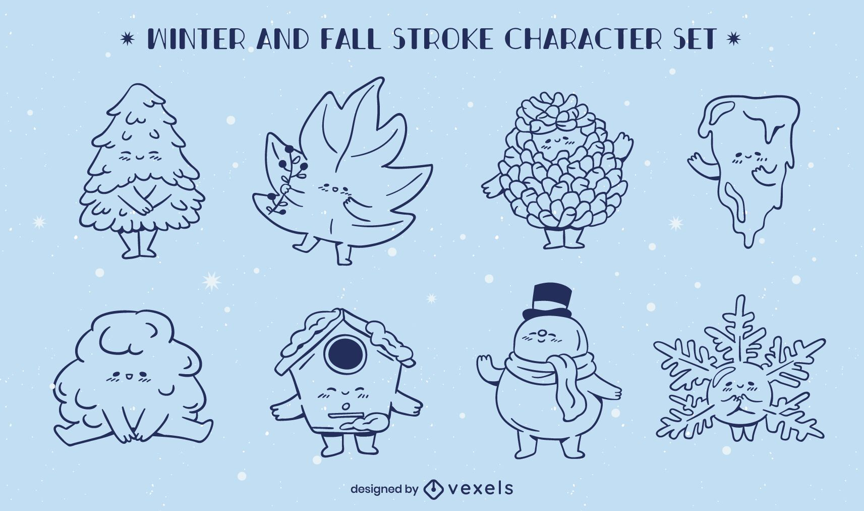 Winter fall seasons line art character set