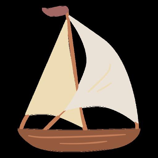 Wooden sail boat semi flat