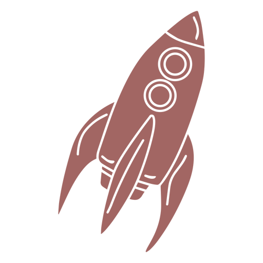 Purple space rocket cut out