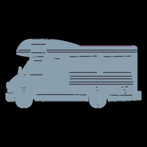 Light blue RV caravan cut out