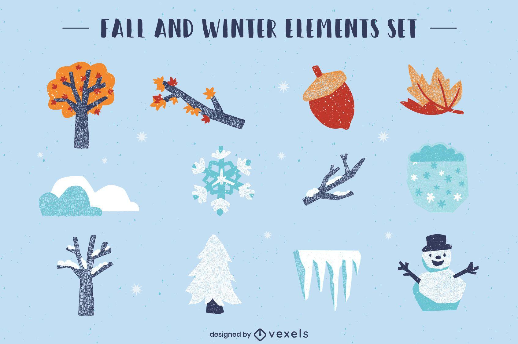 Winter fall seasons cute element set