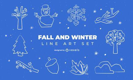 Winter fall seasons line art element set