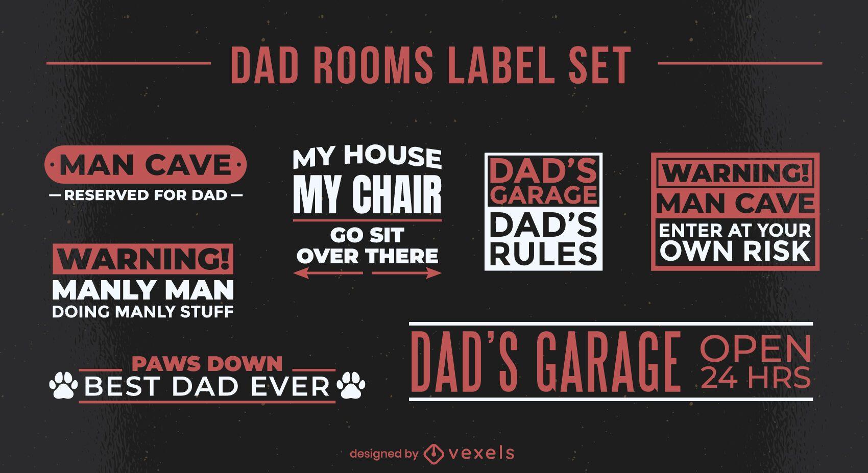Conjunto de etiquetas de cita fresca para habitación de papá