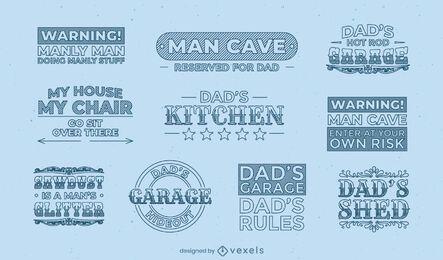 Conjunto de etiquetas de citações masculinas do papai