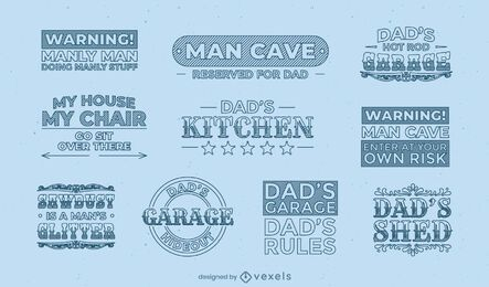 Dad's manly quotes label set