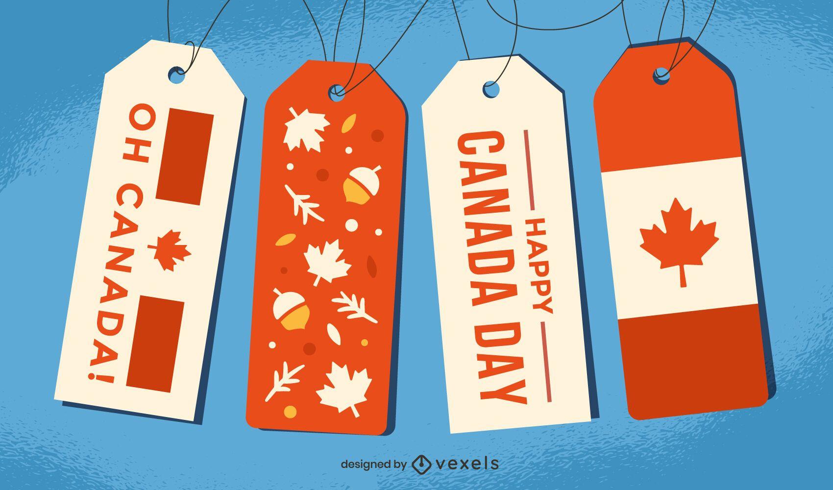Conjunto de presente com etiqueta de pendurar feliz dia do Canadá