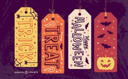 Conjunto de presentes assustador de etiquetas de pendurar para o Dia das Bruxas