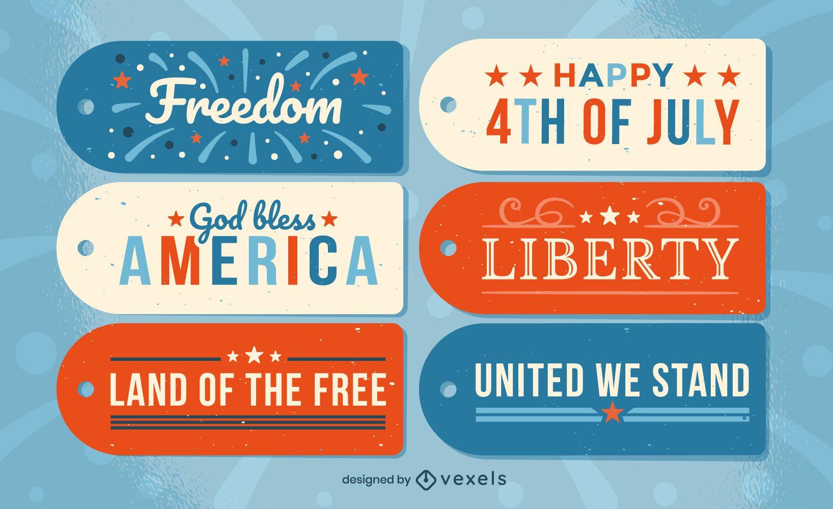 Conjunto de etiqueta pendurada para o dia da independência dos EUA