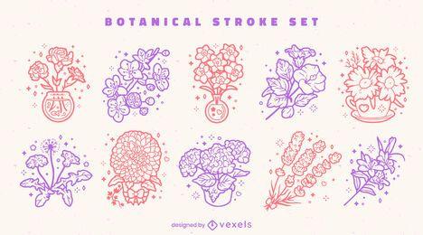 Flower botanical colorful line art set