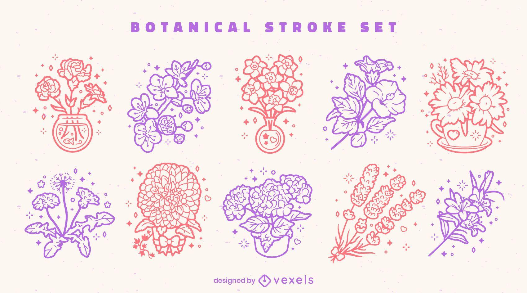 Conjunto de arte de línea colorida botánica de flores