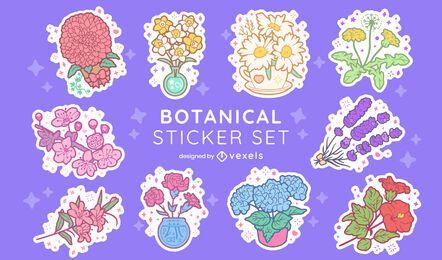 Conjunto de adesivos de natureza de arranjo de flores