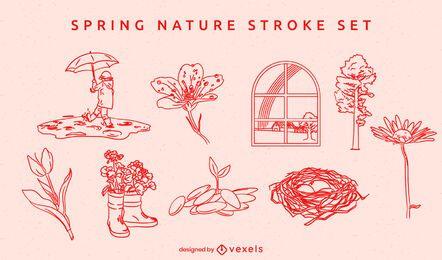 Conjunto de elementos desenhados à mão da natureza da primavera