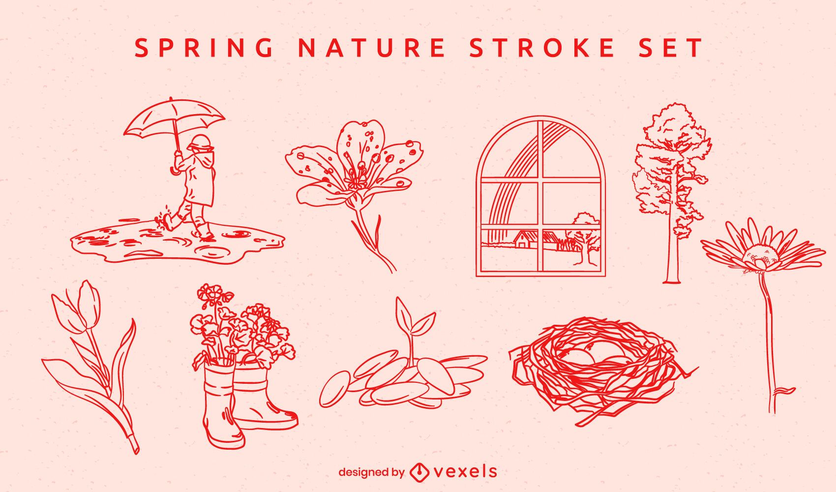 Spring nature hand-drawn element set