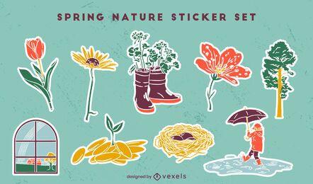 Conjunto de pegatinas de naturaleza de temporada de primavera